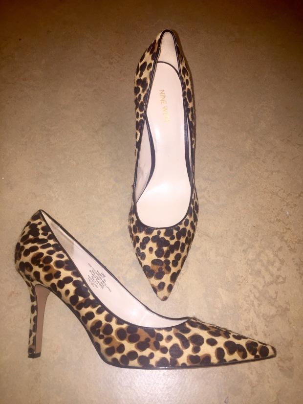 Nine west cheetah lepoard pointed toe pumps blaque coffee blog