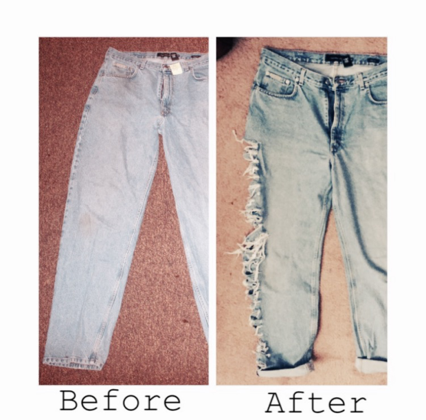 Shredded distressed jeans before and after diy blaque coffee blog taylor m. holmes
